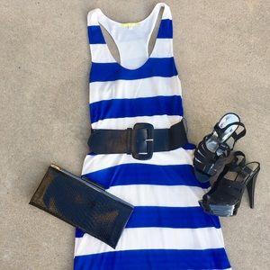 Belted Blue/White Striped Racerback Dress